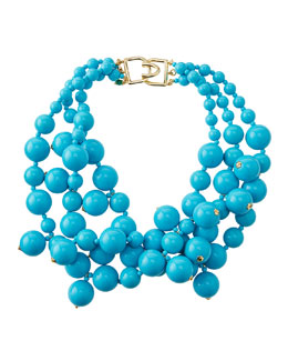 Kenneth Jay Lane Beaded Cluster Necklace, Turquoise