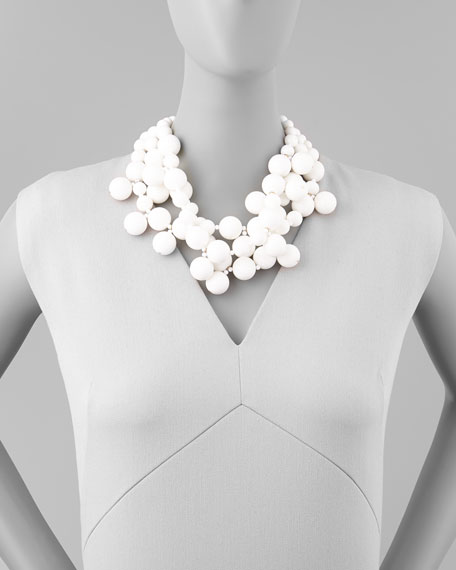 Beaded Cluster Necklace, White