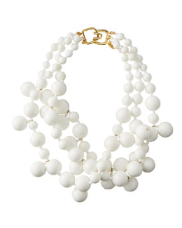 Kenneth Jay Lane Beaded Cluster Necklace, White