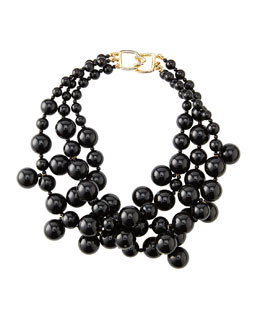 Kenneth Jay Lane Beaded Cluster Necklace, Black