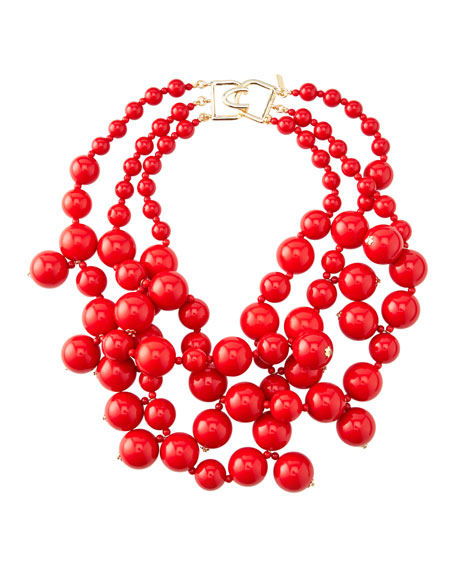 Kenneth Jay Lane Beaded Cluster Necklace, Red