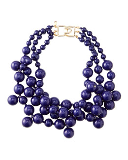 Kenneth Jay Lane Beaded Cluster Necklace, Blue