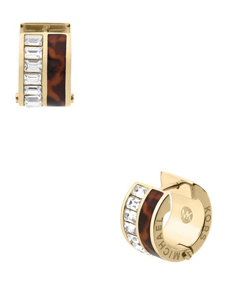 Tortoise/Baguette Huggie Earrings, Golden