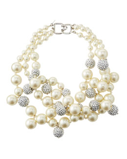 Kenneth Jay Lane Pave Crystal Pearly Beaded Cluster Necklace