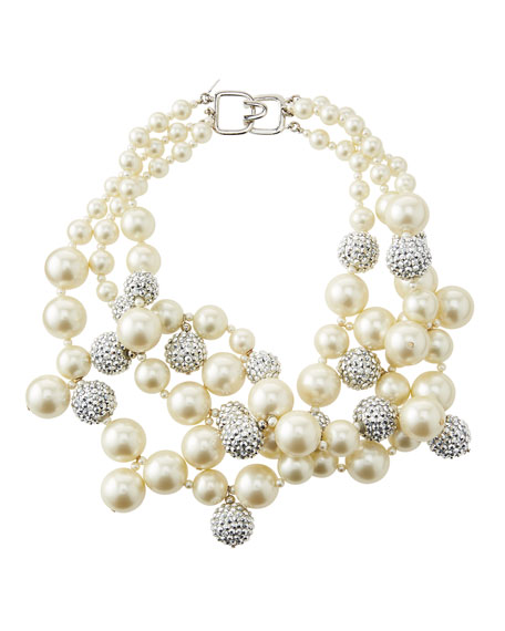 Pave Crystal Pearly Beaded Cluster Necklace