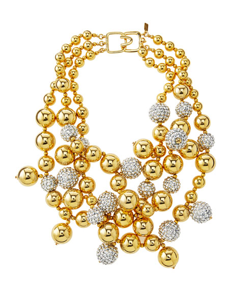 Pave Crystal Beaded Cluster Necklace, Gold