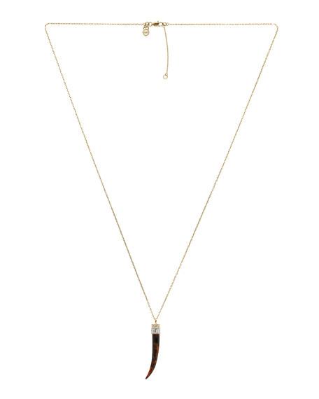 Horn Pendant Necklace, Golden