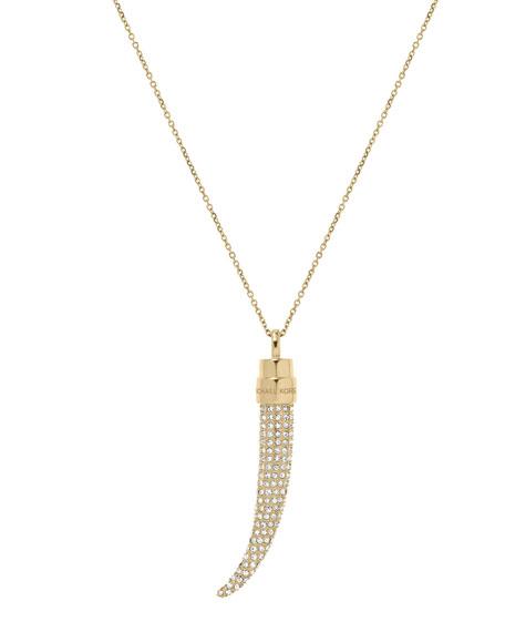 Pave Horn Pendant Necklace, Golden