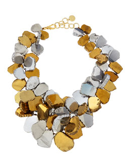 Nest Gold & Silver-Plated Quartz Cluster Necklace