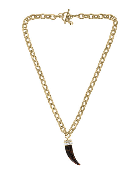 Chain-Link Horn Pendant Necklace, Golden