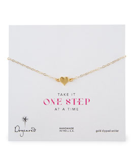 Dogeared 14k Gold Vermeil Heart Anklet