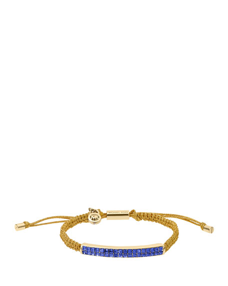 Holiday Macrame Cord Bracelet, Sapphire/Golden