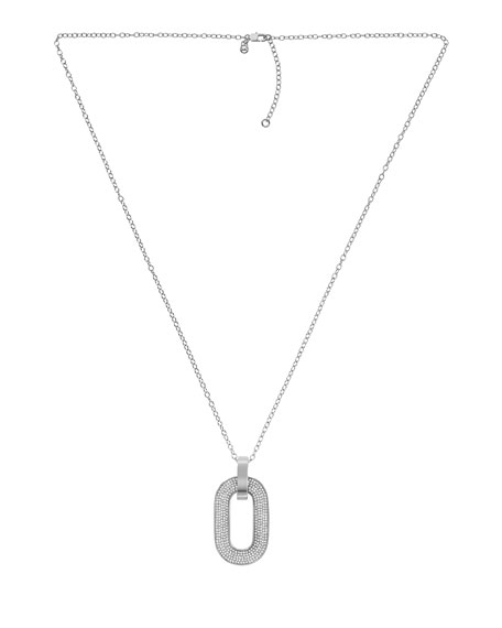 Pave Link Pendant Necklace, Silver Color