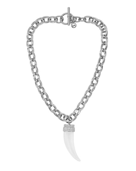 Chain-Link Tusk Pendant Necklace, Silver Color