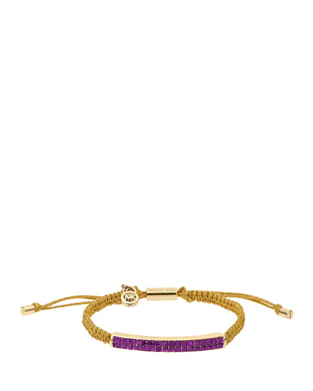 Holiday Macrame Cord Bracelet, Berry/Golden