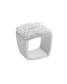 Michael Kors  Pave Signet Ring, Silver Color