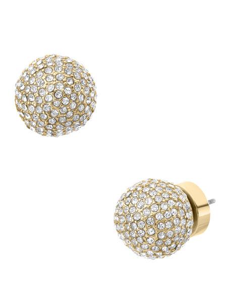Pave Bead Stud Earrings, Golden