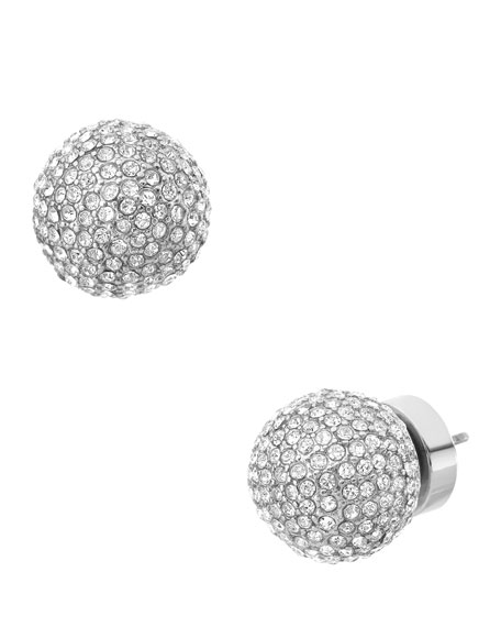 Pave Bead Stud Earrings, Silver Color