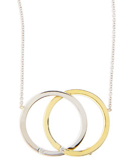 Roberto Coin White/Yellow Gold Diamond Medium-Circle Necklace