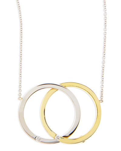 White/Yellow Gold Diamond Medium-Circle Necklace