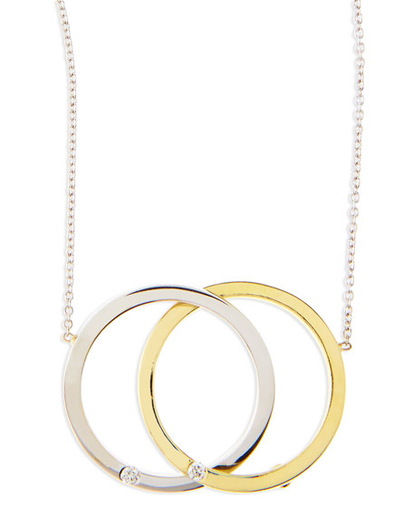 White/Yellow Gold Diamond Medium-Circle Necklace