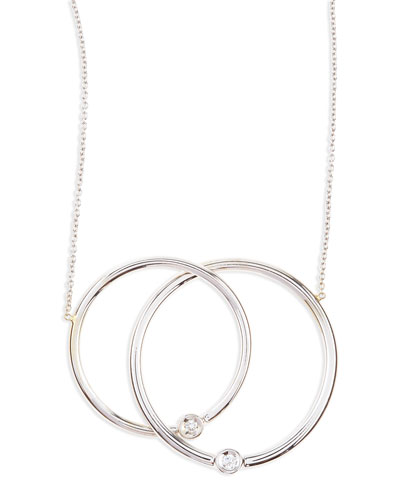 Roberto Coin White Gold Diamond Large-Circle Necklace
