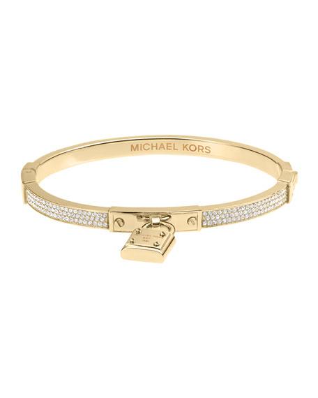 Pave Hinge Padlock Bracelet, Golden