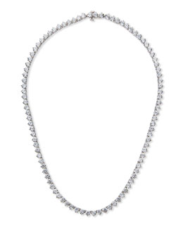 Fantasia by DeSerio Three-Prong CZ Vermeil Tennis Necklace