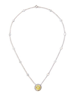 Fantasia by DeSerio Pave CZ Canary Vermeil Pendant Necklace
