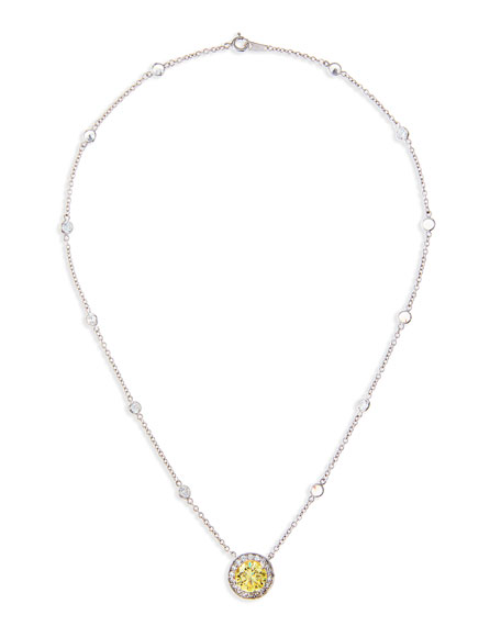 Pave CZ Canary Vermeil Pendant Necklace