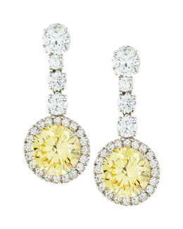 Fantasia by DeSerio Round Canary Cubic Zirconia Drop Earrings, 7.5 TCW