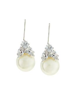 Fantasia by DeSerio 10mm Simulated Pearl & Cubic Zirconia Drop Earrings