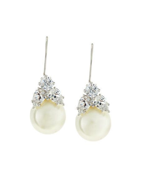 Fantasia 10mm Simulated Pearl & Cubic Zirconia Drop Earrings TJRm1V