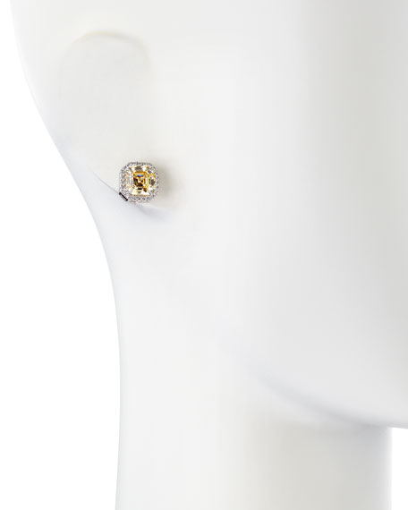 Cushion Canary Cubic Zirconia Stud Earrings, 3.25 TCW