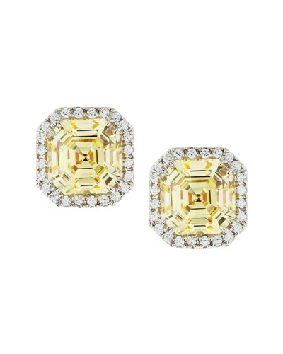 Fantasia by DeSerio Cushion Canary Cubic Zirconia Stud Earrings, 3.25 TCW