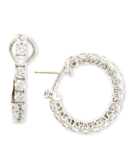 Fantasia by DeSerio Small Cubic Zirconia Hoop Earrings,