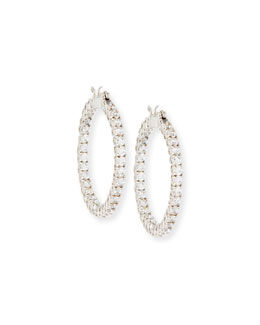 Fantasia by DeSerio Large Cubic Zirconia Hoop Earrings, 3.2 TCW