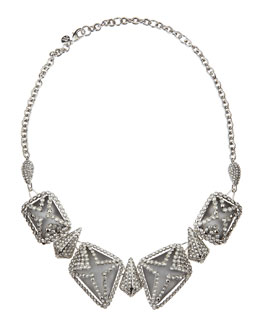 Alexis Bittar Crystal-Cage Lucite Bib Necklace, Gray