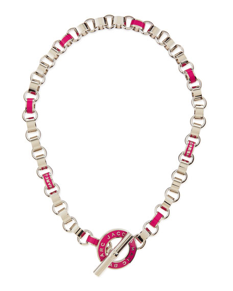 Enamel Toggle Necklace, Pink