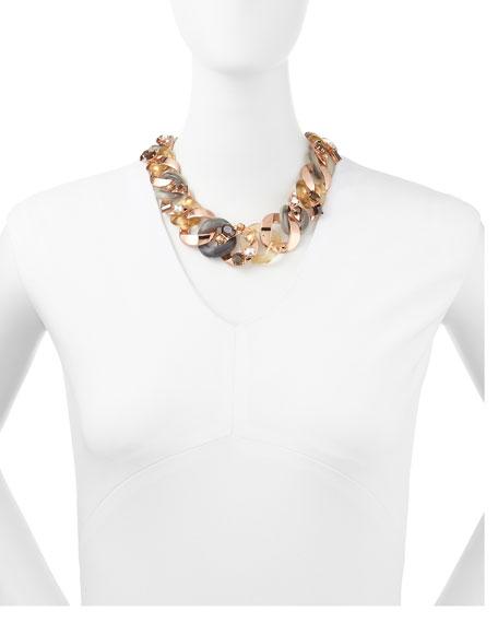 Katie Embellished Metal Turnlock Necklace, Rose Golden
