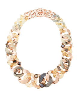 MARC by Marc Jacobs Katie Embellished Metal Turnlock Necklace, Rose Golden