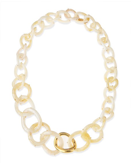 "Pearly Resin Link Necklace, 30""L"