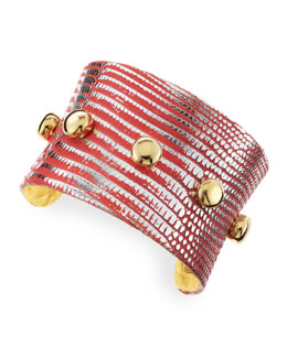 KARA by Kara Ross Golden-Studded Lizard Cuff, Red-Orange
