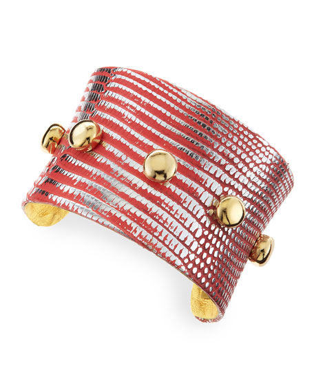 Golden-Studded Lizard Cuff, Red-Orange