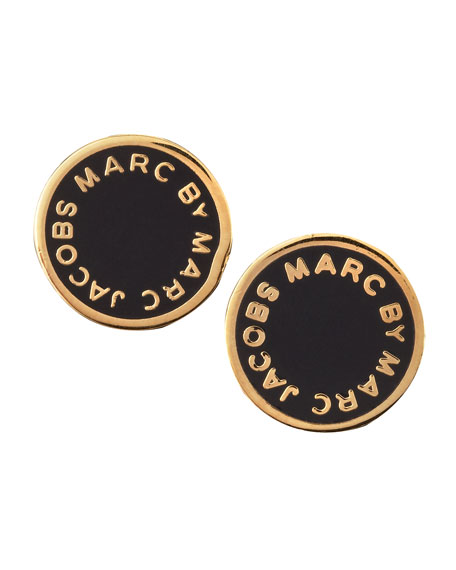 Enamel Logo Disc Stud Earrings Black Golden