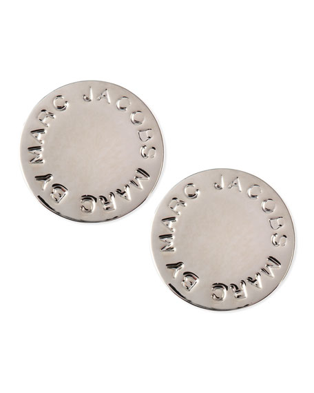 Logo Disc Stud Earrings, Silvertone