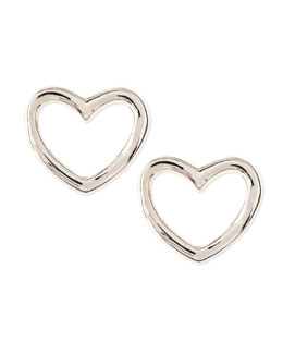 MARC by Marc Jacobs Love Heart Stud Earrings, Silvertone