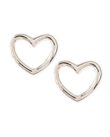 Love Heart Stud Earrings Silvertone