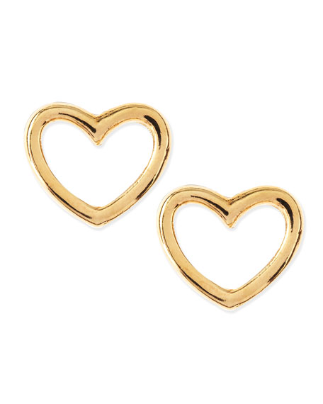 Love Heart Stud Earrings, Yellow Golden
