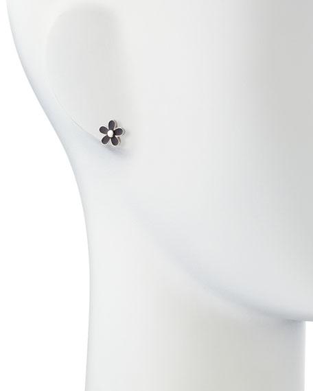 Daisy Stud Earrings, Black/Silvertone